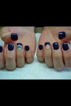 Dark blue with chevron accent nail.