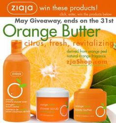 Ziaja Cosmetics: Orange Butter May 2014 Giveaway! Open to USA only. Ends May 31, 2014.   Living La Vida Eco