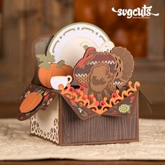 "Autumn Box Cards SVG Kit - DIY Thanksgiving Pop-Up ""Box Card"" from SVGCuts"
