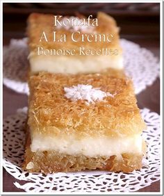 Cream Konafa (Sweet Lebanese Cream Filled Noodle Pastry).