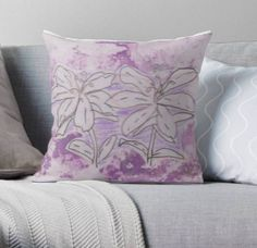 lily drawing decorative pillow 41x41cm