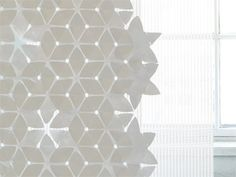 Room divider technical fabric curtain FLAKE by Woodnotes | design Mia Cullin