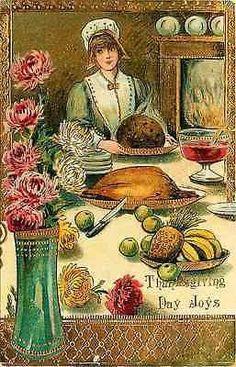 Thanksgiving 1908 Woman Preparing Thanksgiving Table Antique Vintage Postcard…