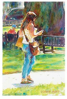 "Texting in the park by Graham Berry Watercolor ~ 12"" x 8"""