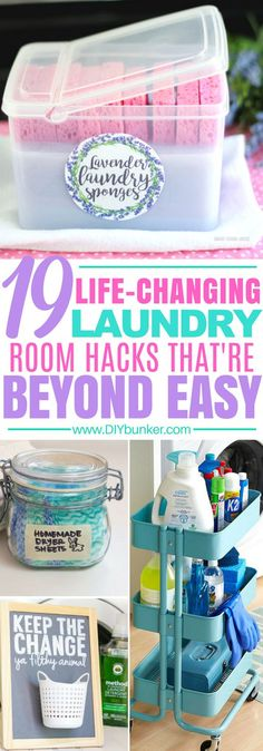 I ADORE these laundry room organization tips! They're exactly what I needed to clean my laundry room! These 19 laundry room hacks are perfect for organizing and cleaning up your old laundry room. Learn how to DIY detergent and sort socks!