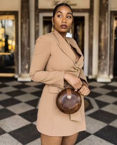Office | Work | Business | Look | Outfit | Wear | Brown | Beige | Bruin | Blazerdress | Blazer | Dress | Jurk | Jas | Mantel | Inspiration | More On Fashionchick Dinner Outfits, Date Outfits, Classy Outfits, Stylish Outfits, Fashion Outfits, Black Girl Fashion, Dope Fashion, Fashion Killa, Black Girls Rock