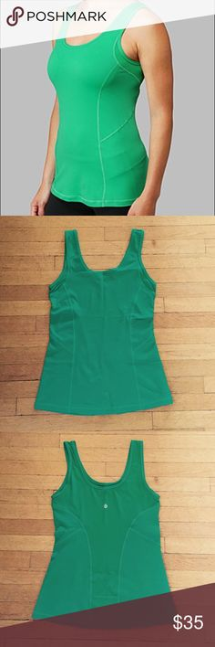 lululemon Run Pep Tank in Savage Green Tank is in perfect condition! Size 4 in luxtreme material. Color is a bright green. The back has a mesh panel for breathability and a small flap pocket. Worn once and was washed with other athletic clothing and air dried. lululemon athletica Tops Tank Tops
