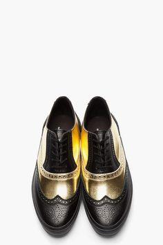 COMME DES GARÇONS HOMME PLUS Black & Metallic Gold Leather Wingtip Brogue Sneakers