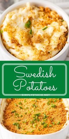"""Swedish Potatoes - An old-fashioned family recipe passed down over generations. Creamy potatoes are baked with a buttery breadcrumb topping. My husband says these are the """"best mashed potatoes ever""""."""
