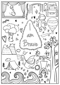 "Free Coloring Pages from ""I Am Confident, Brave & Beautiful"" — Hopscotch Girls Free Printable Coloring Pages, Coloring Book Pages, Coloring Sheets, Brave, Bullet Journal Ideas Pages, Bullet Journal Inspiration, Journal Themes, Karla Gerard, Aquarell Tattoo"