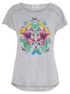 'Emma' Print Top - A simple relaxed fit grey tee with a curved hem and centre front tropicana print.