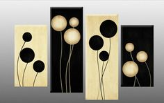 Large Black and Cream Abstract Canvas Picture Wall Art Split Multi 4 panel set in Art, Canvas/Giclee Prints Metal Tree Wall Art, Diy Wall Art, Diy Art, Wall Decor, 3 Panel Wall Art, Multi Canvas Painting, Diy Canvas, Abstract Canvas, Multi Canvas Art