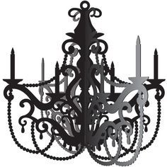 Add elegance and style to your Party in Paris birthday party with this 16'' x 16.5'' black vintage style cardstock hanging chandelier. Easy to assemble and hang, and a great decorative talking piece.