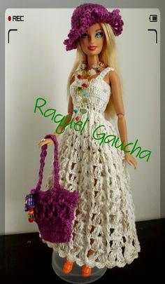 #Anne #Bolsa #Purse #Sombrero #Chapéu #Hat  #Cléa5 #Crochet #Vestido #Dress #Muñeca #Doll #Barbie #RaquelGaucha