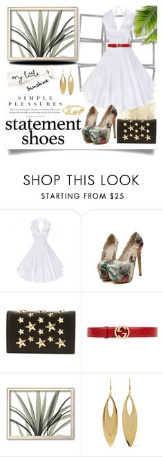 """""""Statement Shoes Contest"""" by jeneric2015 ❤ liked on Polyvore featuring Jimmy Choo, Gucci, Kenneth Jay Lane, Sydney Evan and statementshoes"""