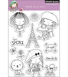 These clear stamps are easy to use with any acrylic block (not included). This black penny stamp features a 'Mimi in Paris' design. 11 clear stamps Design: Mimi In Paris Dimensions: inches x 5 inc Penny Black Karten, Adult Coloring, Coloring Pages, Colouring, Penny Black Stamps, Doodles, Ink Stamps, Tampons, Joanns Fabric And Crafts