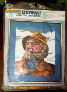 "1983 Bernat Counted Cross Stitch Kit ""SEA CAPTAIN"" 14 Mesh 16"" x 20"" for sale on eBay"