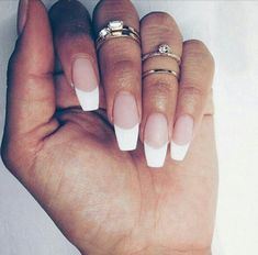 Squoval French Tip Acrylic Nails