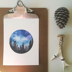 Original Watercolor 'Starry Night over the Black by RosalinaDesign