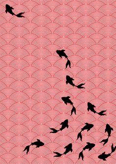 Choomi Kim Textile: Koi wallpaper design