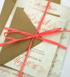 Rustic Sweet Coral Wedding Invitation Suite by oneLittleM on Etsy. $6.00 USD, via Etsy. for HOLLY! :)