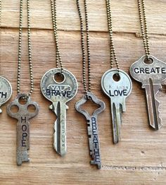 Inspirational Word Stamped Vintage Key Necklace by Woodenhive on Scoutmob