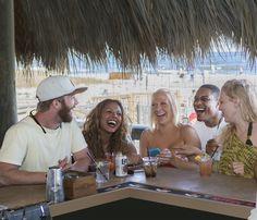 The tiki bar at Tiki Hut is the only beach front tiki bar on Hilton Head