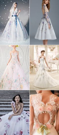 "Most Romantic Bridal Trend! 22 ""Barely Colorful"" Wedding dresses with a Touch of Color!"