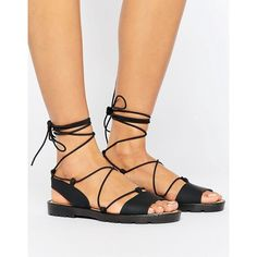 ASOS FLUTTER Tie Leg Jelly Sandals (203.050 IDR) ❤ liked on Polyvore featuring shoes, sandals, black, black shoes, kohl shoes, black jelly shoes, asos shoes and open toe shoes