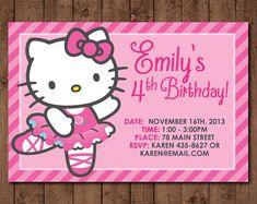 Personalized Hello Kitty ballerina DIY Printable Birthday Invitation - 4 x6 (PDF & JPG file only)