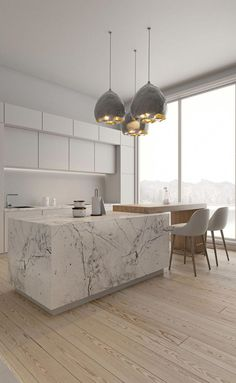 31 Beautiful Modern Condo Kitchen Design And Decor Ideas 31 Beautiful Modern Condo Kitchen Design And Decor Ideas Modern Condo, Modern Kitchen Design, Modern Interior Design, Interior Design Kitchen, Luxury Interior, Modern Kitchen Island, Marble Island Kitchen, Marble Interior, White Marble Kitchen