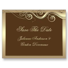 Brown Gold Swirls Save The Date