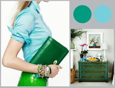 Calm and clean with this analogus combo of greens and blues. www.pinkdoordesigns.com for more ideas. Panton mood board