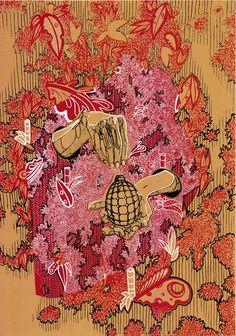 Ręce i granat, Angelika Korzeniowska, sitodruk, 100 cm x 70 cm, 2016