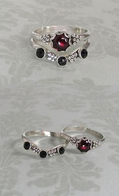 Modern Victorian vintage style garnet ring and rose cut black spinel curved band chevron ring stacking ring set handcrafted from sterling silver by Kryzia Kreations
