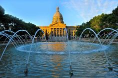 This summer landscape image shows the Legislative building in Edmonton the capitol city in Alberta C... - Robert McGouey/Getty Images