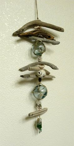 Japanese glass float driftwood hanger by TideLinesAndMemories, $55.00
