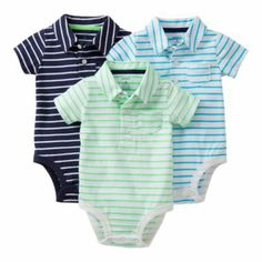 JcPenny Carter's® 3-pk. Polo Bodysuits - Boys newborn-24m