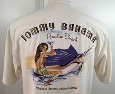 Tommy Bahama Men's Short Sleeve Shirt Embroidered Paradise Beach Size Small Silk #TommyBahama #Hawaiian