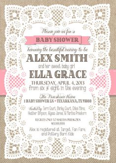 Burlap and Lace with Ribbon Girl Baby Shower by SSDdesign on Etsy, $15.00