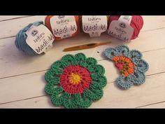 Aprende a tejer una flor con cenefa de colores I Flower Power I (ENGLISH...