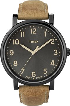 Timex - T2N677D7 - Timex Heritage Easy Reader - Montre Mixte - Quartz Analogique - Cadran Noir - Bracelet Cuir Marron: Timex Originals: Amazon.fr: Montres