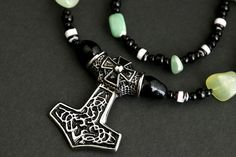 Viking Cascade Necklace with Mjolnir Hammer Pendant. Mint Green and Black Beaded Norse Necklace. Historical Viking Necklace - 24.25 inches by Gilliauna from Bits n Beads by Gilliauna. Find it now at http://ift.tt/2xn9ZIk!