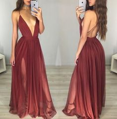Prom Dresses For Teens, prom dresses,New Arrival simple v neck chiffon burgundy long prom dress, evening dress Dresses Modest Prom Dresses For Teens, Backless Prom Dresses, A Line Prom Dresses, Sexy Dresses, Beautiful Dresses, Evening Dresses, Dress Prom, Dress Wedding, Prom Gowns