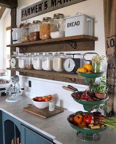 #KitchenRemodel #OpenShelving Vintage Baking, Diy Kitchen, Home Decor Kitchen, Kitchen Cart, Kitchen Shelves, Kitchen Design, Glass Kitchen, Kitchen Sets, Rustic Kitchen