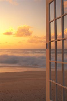 Afternoon Beach Scene Open Door Along Shoreline Golden Clouds Shore Break Waves Hues Aesthetic Pastel Wallpaper, Aesthetic Wallpapers, Sky Aesthetic, Good Morning Sunshine, Window View, Open Window, Beach Scenes, Aesthetic Pictures, Strand