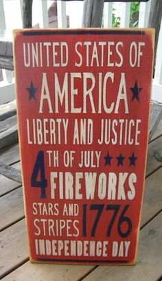 4th of July  primitive Sign Typography  subway sign by Wildoaks, $25.00