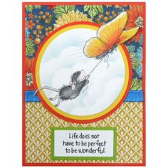Stampendous Cling Mounted Rubber Stamps - House Mouse Designs - Butterfly Ride Rubber Stamp