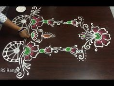 Ratham muggulu || Sankranthi rahtam muggulu || Beautiful flower ratham muggulu - YouTube Best Rangoli Design, Rangoli Designs Latest, Simple Rangoli Designs Images, Rangoli Designs Flower, Free Hand Rangoli Design, Rangoli Border Designs, Small Rangoli Design, Rangoli Designs With Dots, Beautiful Rangoli Designs