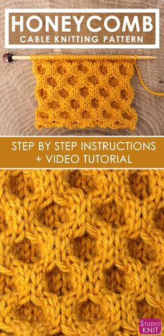 to Knit the Honeycomb Cable Stitch by Studio Knit. How to Knit the Honeycomb Cable Stitch with Free Written Pattern and Video Tutorial by Studio Knit. via to Knit the Honeycomb Cable Stitch with Free Written Pattern and Video Tutorial by Studio Knit. Cable Knitting Patterns, Knitting Stiches, Easy Knitting, Knitting Needles, Knit Patterns, Crochet Stitches, Beginner Knitting, Honeycomb Stitch, How To Purl Knit
